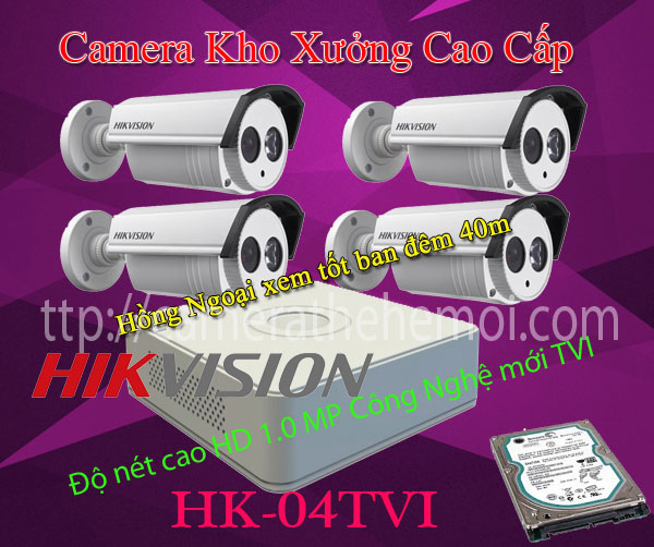 Bộ 4 camera hikvison ngoài trời,1080p thương hiệu 10 thế giới.